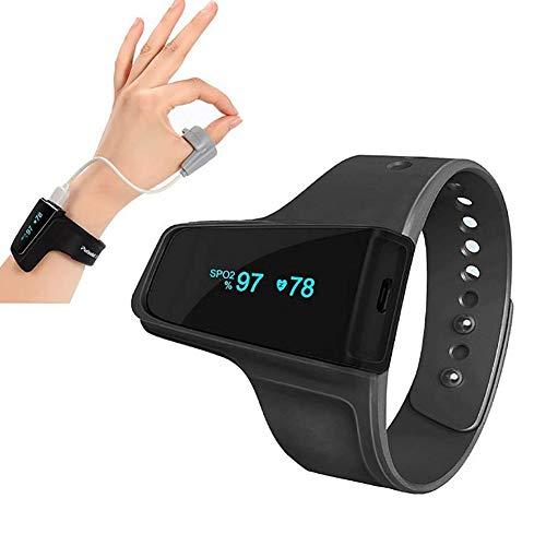 SXFYMWY Wrist Pulse Oximeter Wireless Bluetooth Funktion Oxygen Saturation Monitoring Herzfrequenz-Rate Atemp-Monitorin,Black,44x25x15mm