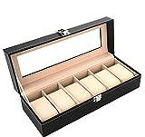Custodia scatola porta orologi 6 posti con vetro linea SINTESI ecopelle/velluto cofanetto portaorologi,NERO