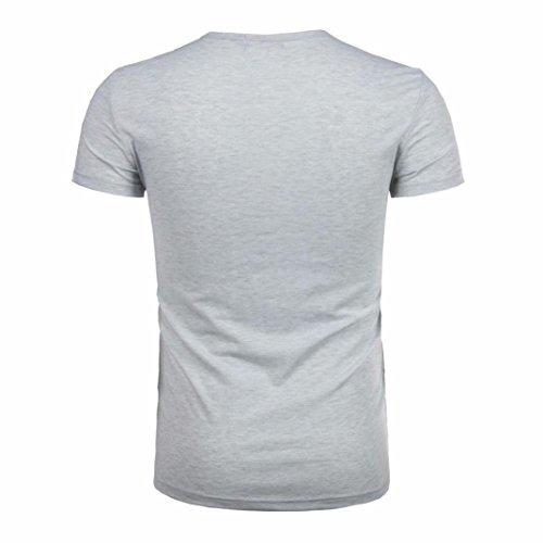 URSING_Herren T-Shirt Herren Ursing Mode Sommer T-Shirts Mode Männer Kurzarm O-Neck Slim Fit Hemden Kurzarmhemd mit Knopf Einfarbig Sommer-Oberteile Freizeit Hemd Modern Rundhals Bluse Muskelshirt Grau