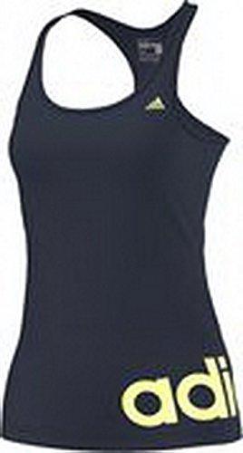 Adidas Canottiera Donna Essentials Linear - Collegiate Navy/Light Flash Giallo, Xxs