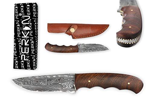 Cuchillo de caza con hoja de damasco, hecho a mano