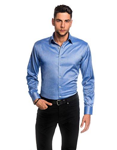 Embraer camicia uomo eleganti, taglio aderente/slim-fit, collo classico, manica lunga, in tinta unita - facile da stirare azzurro 41/42