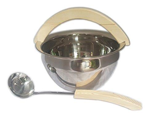 Preisvergleich Produktbild Saunazubehörset Sauna Zubehörset Saunakübel Kübel Kelle Aufgusseimer Saunaset Edelstahl mit Holzbügel