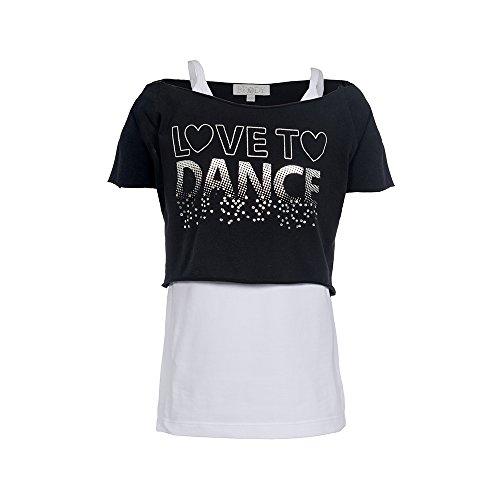 Kinder Tanz Top (Brody & Co, kurzes Mädchen-T-Shirts, Schwarz)