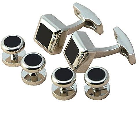 okones Luxe en verre Fine Agate noir boutons de manchette et 4clous pour smoking formelles pour homme avec une boîte cadeau