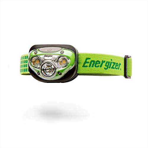 Energizer LED-Kopflampe Vision HD+, 3 weiße, 2 rote LED, dimmbar, einstellbare Neigung, Kopfband, 3 AAA Batterien