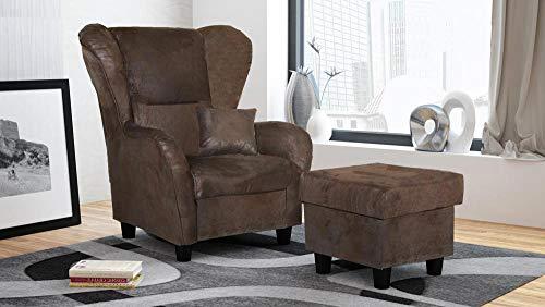 lifestyle4living Ohrensessel mit Hocker in Braun im Vintage Look | Der perfekte Sessel für entspannte, Lange Fernseh- und Leseabende.
