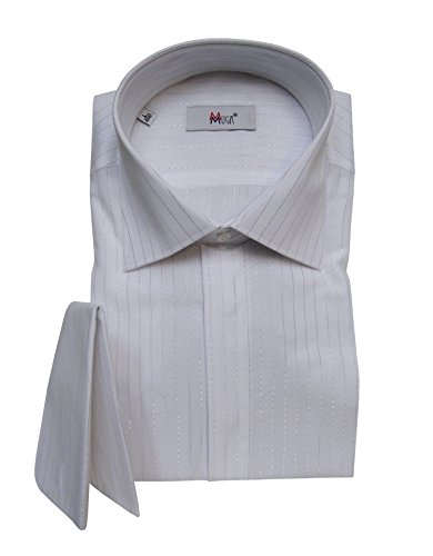Herrenhemd mit Umschlagmanschetten Lurex streifen Muga Weiß