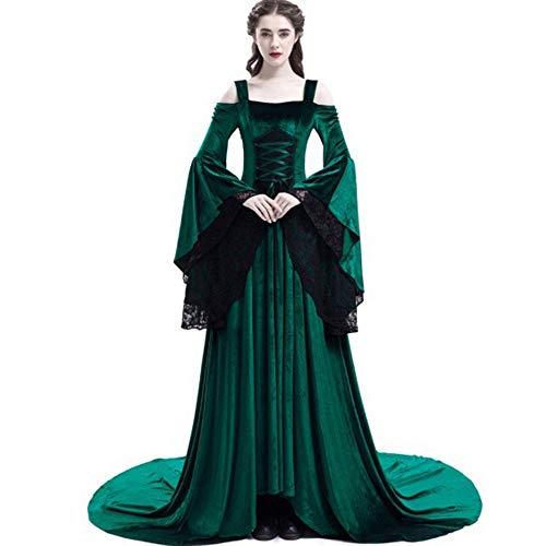DELI Kleid Renaissance Verband Medieval Kleid Elegante Goth Spitze Flare Hülse Slash Hals Retro Plus Größe Weibliche Kleid (Renaissance-kleider Größe Plus)
