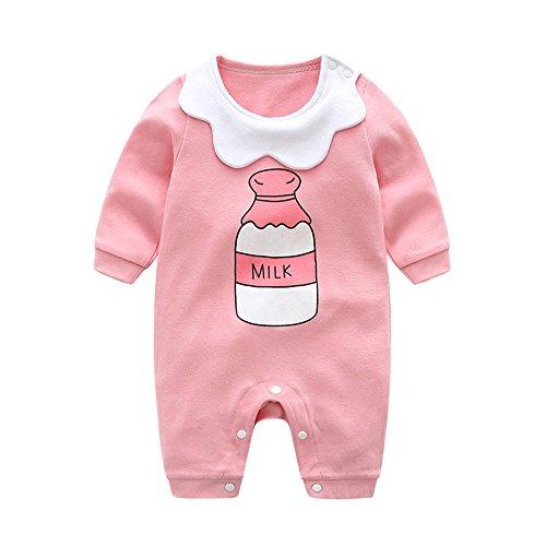 Ears Kinder Baby Langarm Kinderkleidung Infant Baby Girls Long Sleeve Milk Bottle Letter Print Romper Jumpsuit Outfits Set Clothes Outfit KleidunInfant Kleinkind Baby Jungen (66, Pink) Cotton Knit Romper