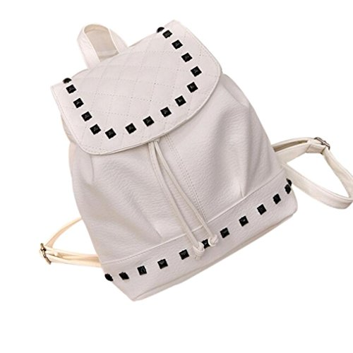 Saingace Mädchen-Niet-lederner Schule-Beutel-Spielraum-Rucksack-Schultaschen-Frauen-Schulter-Rucksack Weiß