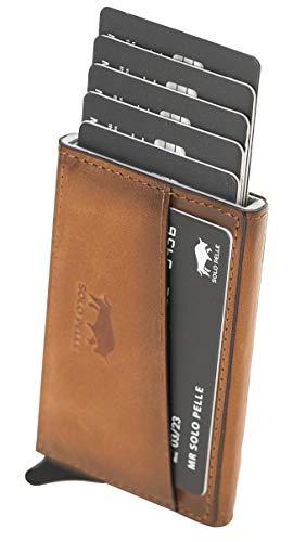 Solo Pelle Kartenetui mit RFID Schutz bis 11 Karten Portmonee Geldbeutel Kreditkartenetui für den Alltag Mech Echtes Leder in Cognac Braun Burned