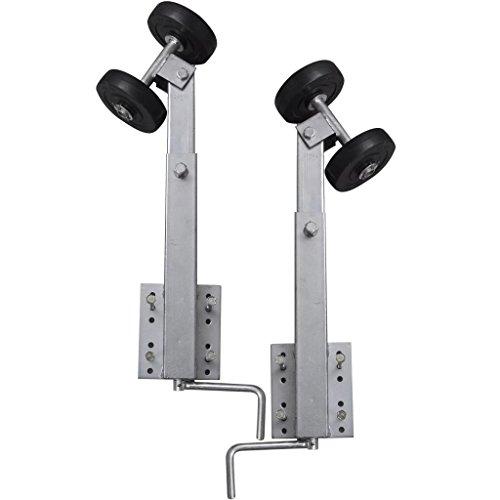 Doppelrollenhalter Stahlrahmen und Gummirolle für Schiffsanhänger 2 Stück 59-84 cm Stahlstärke 1,8 mm