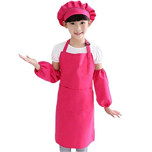 Malerei Schürzen, die Küchen-Schürzen, Backen Schürzen, mit Hut und Ärmel, Deluxe Kochschürze Set für Kinder 7-13 years old (3pcs set ,Hot Pink) ()