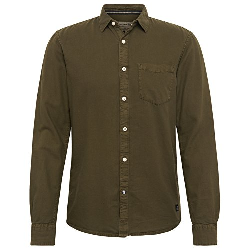 TOM TAILOR Denim Herren Freizeithemd Overdyed Picqué Shirt Woodland Green