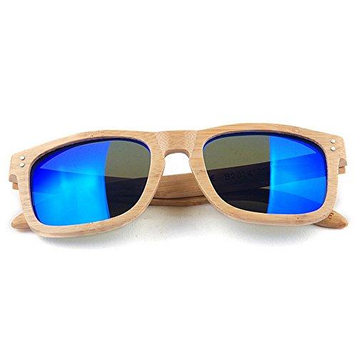 Yiph-Sunglass Sonnenbrillen Mode Herren-Sonnenbrille Persönlichkeit handgefertigte Bambus Sonnenbrille Blaue Farbe polarisierte TAC-Objektiv UV-Schutz Fahren Urlaub Angeln Strand Sonnenbrillen
