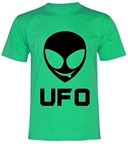 PALLAS Unisex's Alien Smile Funny UFO T-Shirt -PA376 (Green , L)