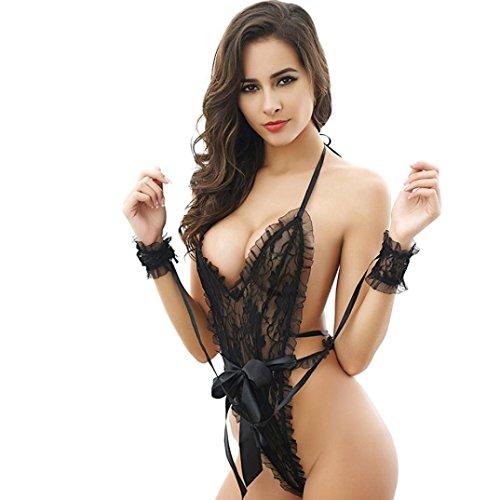 Holeider Damen Sexy Dessous Nachtwäsche Unterwäsche G-String Teddy Body Spitze (Schwarz) (Bh Und Tanga Set Victoria Secret)
