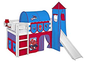 Mid sleeper JELLE Spiderman - High sleeper LILOKIDS - white - incl. curtain and slats, tower and slide