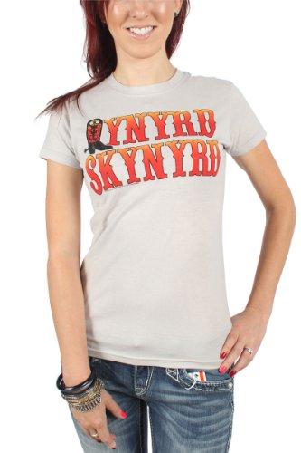 Lynyrd Skynyrd - Frauen-Boot-Logo-T-Shirt in Silber, X-Large, Silver (Skynyrd Damen Lynyrd T-shirt)