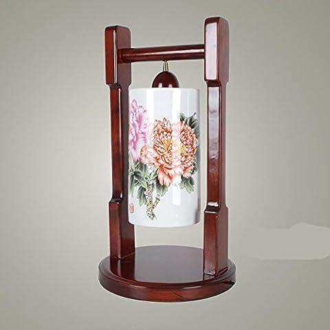 LLYY-Camera da letto creativo lampada da comodino neo-cinese peonia semplice lampada in ceramica soggiorno studio scrivania in legno massello-LYA