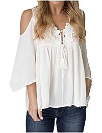 SMARTLADY Mujer Gasa Empalme de Encaje Blusas Camisa