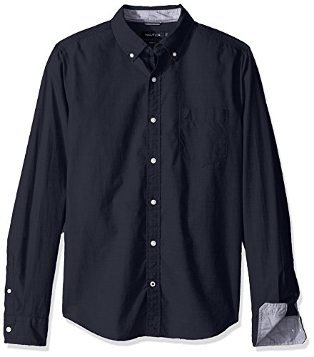 nautica-mens-navy-long-sleeve-mens-shirt-in-size-l-navy