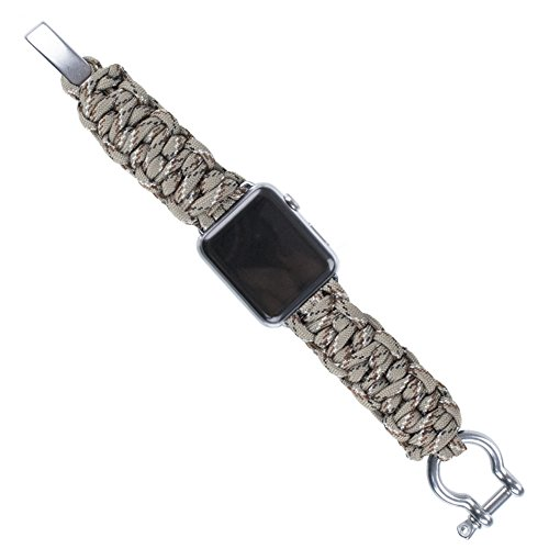 PARACORD PLANET Apple Watch Band 42mm or 38mm Paracord Apple Watch Band - Stainless Steel Hardware and 550 Paracord - Black or Silver Hardware - Multiple Color Options