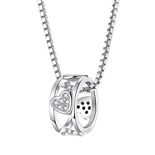 Kette Damen 925 Sterling Silber Kreis Halskette Anhänger mit 5A Zirkonia, Schmuck Geschenk für Freundin Frauen - Silber Kreise