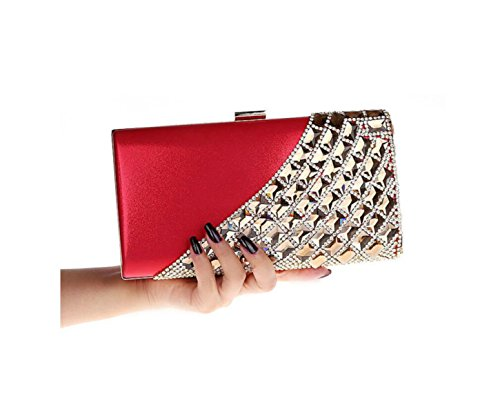 GSHGA Womens Frizione Borse Strass Sposa Borsa Sacchetto Del Pranzo Il Sacchetto Catena Shoulder Bags,Red Red
