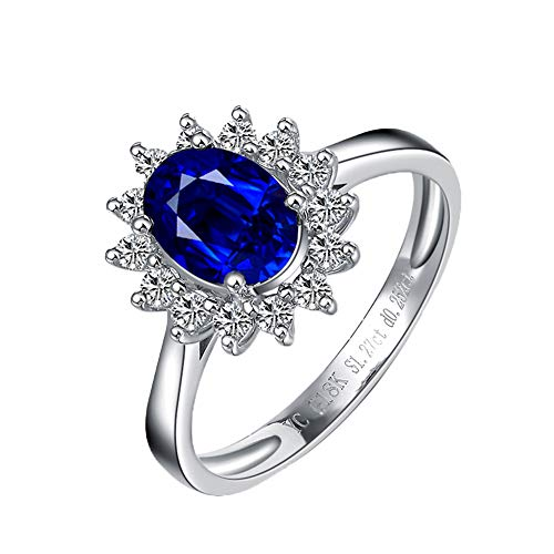 artige echte ovale 5 x 7 mm Blue Sapphire Trauringe für Frauen 18 Karat Weißgold Real Diamond Engagement Band,Q1/2 ()