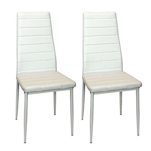 2 Stück Esszimmerstuhl Weiß Kunstleder Küchenstuhl Hochlehner Essgruppe Stuhlgruppe Esszimmermöbel Büromöbel Set