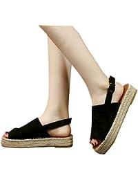7516a2a6879 OverDose Sandales Espadrilles Femme Peep Toe Pas Cher Plate Plateforme  Chaussures Cheville avec Boucle Été Noir