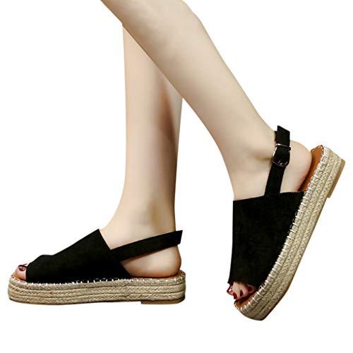 Damen Sommer Sandaletten Flachen Frauen Knöchelriemchen Plateau Flip Flop Sommersandalen Bequeme Elegante Schuhe Espadrilles mit offenem Fersenbereich (Size:43/EU:43, Schwarz)