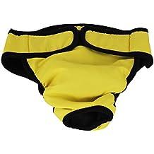 Femenina Mascota Perra Pañales Braguita Reutilizable Lavable Amarillo L ( Ajustable Cintura 50-60CM )