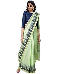 Unnati Silks Women Pure Handloom Kanchi Cotton Saree with blouse piece from the Weavers of Tamilnadu(UNM31024+Green+Free size)