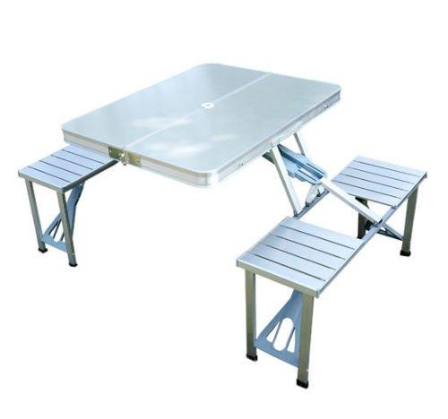 Mesa plegable de aluminio con taburetes acoplados