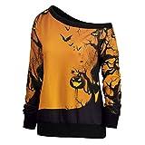 Oliviavan,Frauen Halloween Party Skew Neck Pumpkin Print Sweatshirt Jumper Pullover Tops Weihnachtsfeier Rollenspiel Adult Cosplay Kleid Damen Halloween kostüm