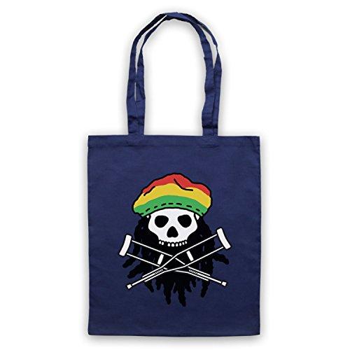 Ispirato Al Jackass Teschio E Ossa Incrociate Logo Rasta Non Ufficiale Del Capo Borse Blu Oltremare
