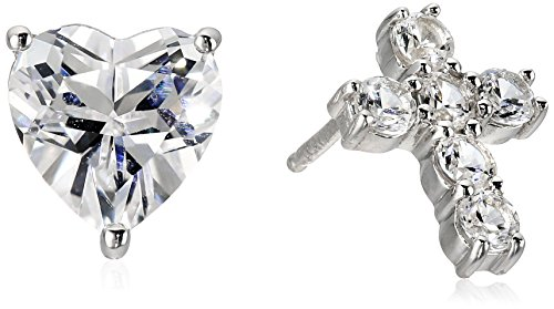 xpy-sterling-silver-created-white-sapphire-heart-and-cross-mix-stud-earrings