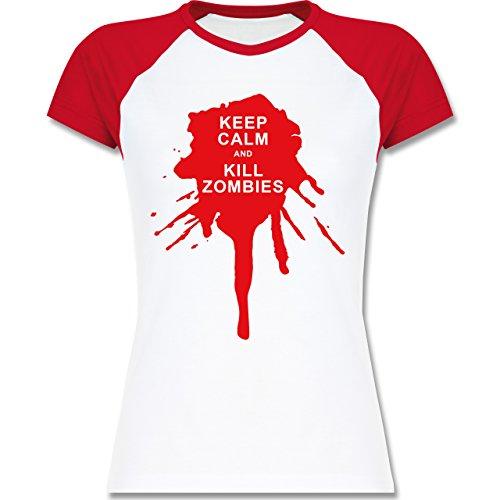 Shirtracer Keep Calm - Keep Calm and Kill Zombies - Zweifarbiges Baseballshirt/Raglan T-Shirt für Damen Weiß/Rot
