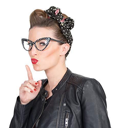Karnevalsmanufaktur Brille Retro schwarz Weiss Rockabilly