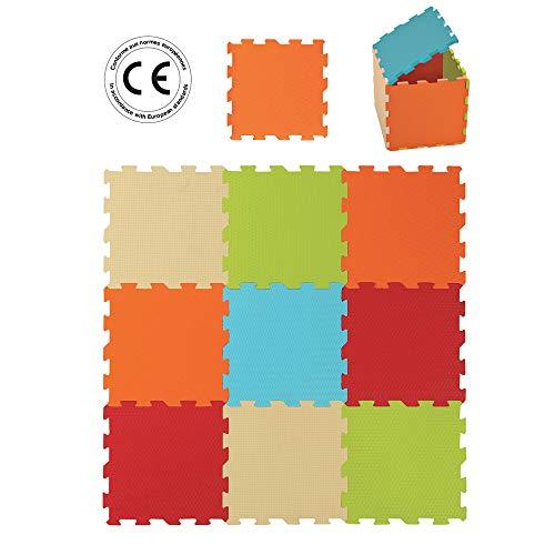 LUDI - Tapis de sol épais pour l'éveil de bébé - 10004 - puzzle géant - dès la naissance - lot de 9 dalles en mousse aux couleurs douces.