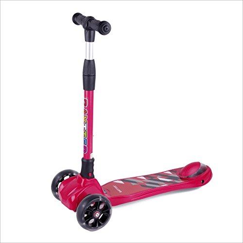 BAYTTER Kinderscooter Dreirad Kinderroller Roller Scooter LED Blinken für Kinder ab 3 Jahren, in 4 Höhen verstellbar und bis 100kg belastbar, mit PU Rädern(Muster 2/Rot)