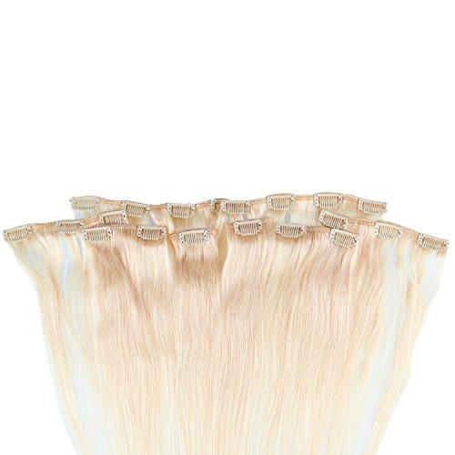Beauty7 120g Extensions de Cheveux Humains à Clip 100% Remy Hair Haute Qualité #613 Couleur Blonde Très Clair Longueur 60 cm