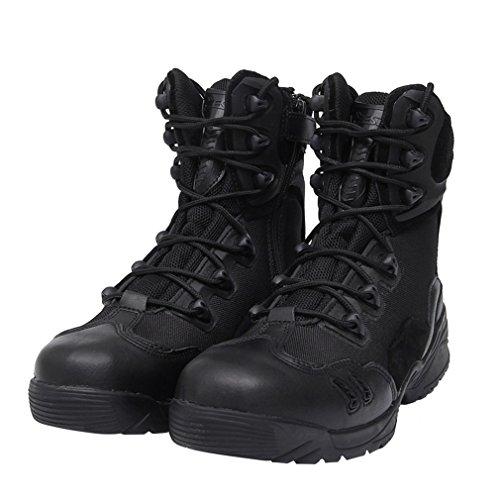 emansmoer Herren Militär Armee Tactical Combat Lace-up High-top Schuhe Wasserdicht Outdoor Sport Wandern Trekking Stiefel Schwarz
