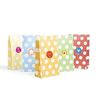 Casparo Eco Design 24 Geschenktüten bunt und dekorativ gepunktet | Partytüten ideal für die Geburtstagsfeier | Papiertüten für den Kinder-Geburtstag | Geschenk-verpackung