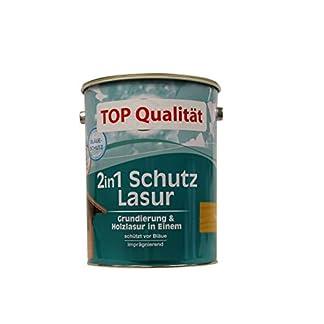 De madera azul 2-in-1, pintura y barniz en una, especial azul v, madera comercio especializado con protección UV-protección, 5 litros, color madera de roble