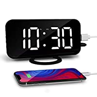 """Aisuo 6.5"""" Alarm Clock, Large LED Display Digital Clock with Adjustable Brightness, 2 USB Charging Ports & Mirror Surface, for Women, Friends, Room Decor."""