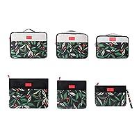 مجموعة منظم الامتعة مكوّن من 6 قطع بطراز الزهرة السوداء تستخدم في السفر مع حقيبة للاحذية